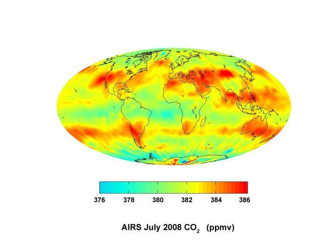 Le dioxyde de carbone dans l'atmosphère en 2008