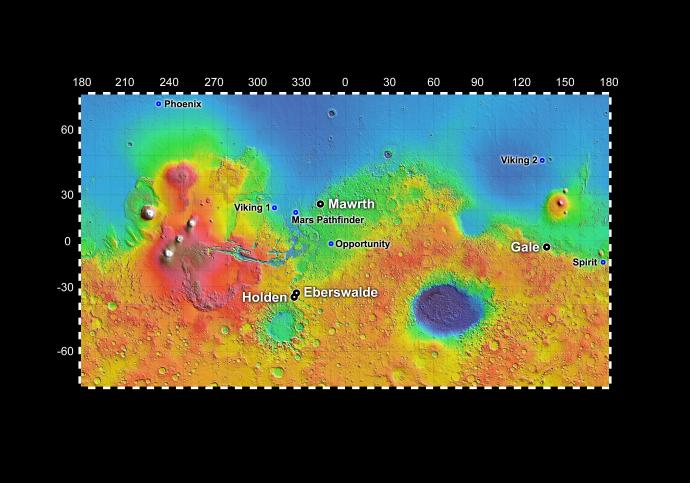 Les possibles sites d'aterrissage de la mission Mars Science Laboratory en 2010