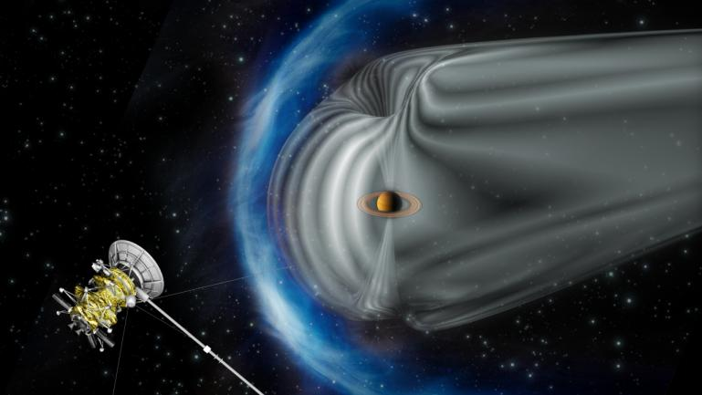 This artist's impression by the European Space Agency shows NASA's Cassini spacecraft exploring the magnetic environment of Saturn.