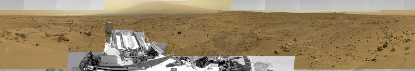 Giga-panorama du cratère Gale photographié par Curiosity