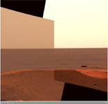 Click on the image for Opportunity's Heatshield on the Horizon (QTVR)