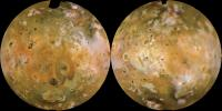 NASA's Voyager 1 computer color mosaics, shown in approximately natural color and in Lambertian equal-area projections, show the Eastern (left) and Western (right) hemispheres of Io.