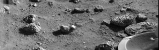 NASA's Viking 2's first picture on the surface of Mars was taken within minutes after the spacecraft touched down on Sept. 3, 1976. The scene reveals a wide variety of rocks littering a surface of fine-grained deposit.