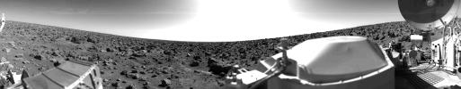 This rocky panoramic scene is the second picture of the Martian surface that was taken by Viking Lander 2 shortly after touchdown on Sept. 3, 1976.  The site is on a northern plain of Mars known as Utopia Planitia.
