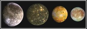 This composite portait includes the four largest moons of Jupiter which are known as the Galilean satellites. From left to right, the moons shown are Ganymede, Callisto, Io, and Europa.