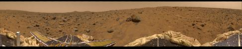 This is the first contiguous, uniform 360-degree color panorama taken by NASA's Imager for Mars Pathfinder (IMP) during July 8-10, 1997. Different regions were imaged at different times to acquire consistent lighting and shadow conditions for all areas.