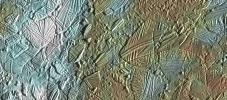 View of a small region of the thin, disrupted, ice crust in the Conamara region of Jupiter's moon Europa showing the interplay of surface color with ice structures. Image captured by the Solid State Imaging (CCD) system on NASA's Galileo spacecraft.
