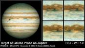 NASA's Hubble Space Telescope image of Jupiter shown on the left was taken on Oct. 5, 1995, when the giant planet was at a distance of 534 million miles (854 million kilometers) from Earth.