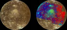 Jupiter's icy moon Callisto is shown in approximate natural color (left) and in false color to enhance subtle color variations (right). These color images were obtained by the Solid State Imaging (SSI) system on NASA's Galileo spacecraft.