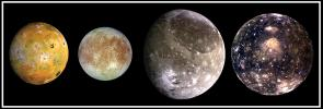 This composite includes the four largest moons of Jupiter which are known as the Galilean satellites. Shown from left to right are Io, closest to Jupiter, followed by Europa, Ganymede, and Callisto.