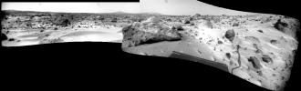 This NASA Sojourner rover panorama from Sols 75 and 76 is the only true panorama product produced by the rover. This panorama ranges from Big Crater on the left, past 'Twin Peaks' and almost all the way to the north horizon. Sol 1 began on July 4, 1997.