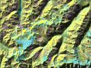 This is a digital elevation model from NASA's Spaceborne Imaging Radar-C/X-band Synthetic Aperture Radar that was geometrically coded directly onto an X-band seasonal change image of the Oetztal supersite in Austria.