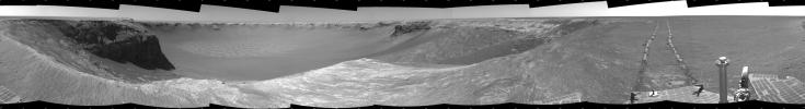 NASA's Mars Exploration Rover Opportunity used its navigation camera to take the images combined into this stereo view of the rover's surroundings on sol (or Martian day) 959 of its surface mission