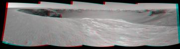 NASA's Mars Exploration Rover Opportunity used its navigation camera to take the images combined into this stereo view of the rover's surroundings. 3D glasses are necessary to identify surface detail.