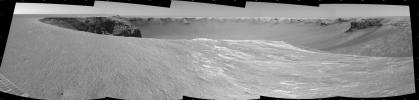 NASA's Mars Exploration Rover Opportunity used its navigation camera to take the images combined into this stereo view of the rover's surroundings on the 958th sol, or Martian day, of its surface mission (Oct. 4, 2006)