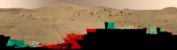 This 360-degree color view, called the 'McMurdo' panorama, comes from the panoramic camera aboard NASA's Mars Exploration Rover Spirit. From April through October 2006, Spirit has stayed on a small hill known as 'Low Ridge.' 3D glasses are necessary.
