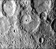 This image, from NASA's Mariner 10 spacecraft which launched in 1974, shows several scarps, which appear to be confined to crater floors. The scarp in the crater at the upper left of the image has been diverted by the central peaks.