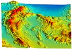 Simi Valley, California, Perspective View of Shaded Relief, color as height