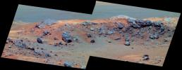 This false-color view from NASA's Mars Exploration Rover Spirit taken on Sept 18, 2005 shows 'Husband Hill' inside Gusev Crater, where the rover had been conducting scientific studies.