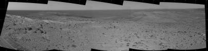 This view from NASA's Mars Exploration Rover Spirit taken on Oct 16, 2005 shows where the rover explored Gusev Crater on Mars.
