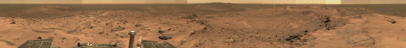 This image from NASA's Mars Exploration Rover Spirit taken in Oct 2005 show a sweeping panorama of the summit of 'Husband Hill,' a broad plateau of rock outcrops and windblown drifts.