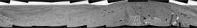 In this image mosaic from NASA's Mars Exploration Rover Spirit taken on Nov 2, 2005, descending due east toward a ridge nicknamed 'Haskin Ridge.' Interesting rocks and soils are present.