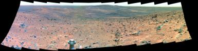 This false-color panorama from NASA's Mars Exploration Rover Spirit taken in Sept, 2005 shows a field of view covered in rocks as the rover explored Gusev Crater on Mars.
