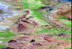 SRTM Perspective View with Landsat Overlay: Bhuj and Anjar, India