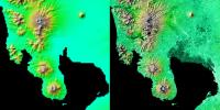 These two images show exactly the same area, Manila Bay and nearby volcanoes on Luzon Island in the Philippines as seen by NASA's Shuttle Radar Topography Mission.