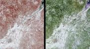 These images of Canada's Qu�bec province were acquired by NASA's Terra satelliteon March 4, 2001.The region's forests are a mixture of coniferous and hardwood trees, and 'sugar-shack' festivities are held at this time of year to celebrate the beginning o