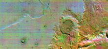 This is the first high-resolution color infrared image taken of Mars. The image was constructed using three of the ten infrared filters on the thermal emission imaging system of NASA's Mars Odyssey spacecraft.