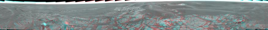 This stereo view shows the landscape surrounding NASA's Mars Exploration Rover Opportunity at the edge of 'Erebus Crater.' 3D glasses are necessary to view this image.