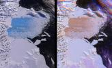 Both single and multi-angle views of the breakup of the northern section of the Larsen B ice shelf are shown in this image pair fromNASA's Terra satellite. The Larsen B ice shelf collapsed and broke away from the Antarctic Peninsula during February and Ma