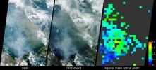 These images acquired in 2002 from NASA's Terra satellite show smoke over Rondonia, Brazil.