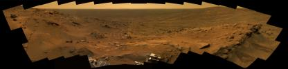 This image from NASA's Mars Exploration Rover Spirit shows Mars' red landscape at 'Whale Panorama' on May 27 through 30, 2005.