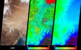 NASA's Terra spacecraft captured these views of the dust and sand that swept over northeast China on March 10, 2004.