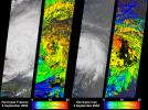 NASA's Terra spacecraft captured these images and cloud-top height retrievals of Hurricane Frances on September 4, 2004, when the eye sat just off the coast of eastern Florida, and Hurricane Ivan on September 5th.