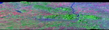 Budapest, Hungary, Perspective View, SRTM Elevation Model with Landsat Overlay