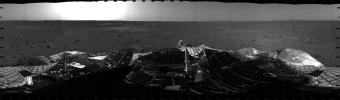 This mosaic from NASA's Mars Exploration Rover Spirit shows a 360 degree panoramic view of the rover on the surface of Mars.