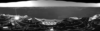 This 360-degree panorama from NASA's Mars Exploration Rover Opportunity shows the rover shortly after it touched down at Meridiani Planum, Mars.