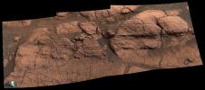 This mosaic of images taken by the panoramic camera onboard NASA's Mars Exploration Rover Opportunity shows the rock region dubbed 'El Capitan,' which lies within the larger outcrop near the rover's landing site.