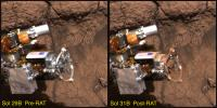 NASA's Mars Exploration Rover Opportunity shows the rover's rock abrasion tool before and after it ground into a rock at Meridiani Planum, Mars. The red dust coating on the instrument is thought to be a form of the mineral hematite.