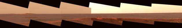 This image mosaic from the panoramic camera on NASA's Mars Exploration Rover Opportunity shows the distant horizon from Opportunity's position inside a small crater at Meridiani Planum, Mars.