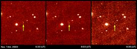These three panels show the first detection of the faint distant object dubbed 'Sedna.' Imaged on November 14th from 6:32 to 9:38 Universal Time, Sedna was identified by the slight shift in position noted in these three pictures taken at different times.