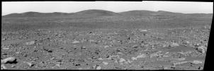 This image from NASA's Mars Exploration Rover Spirit panoramic camera shows the view acquired on the martian afternoon Apr. 3, 2004 in the direction of the rover's future drive destination. In the distance are the eastern-lying 'Columbia Hills.'
