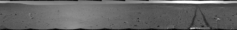 Spirit's View on Sol 100 (cylindrical)