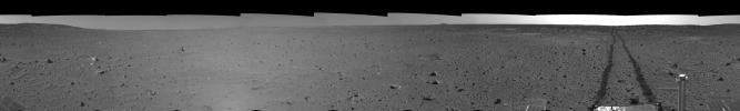 Spirit's View on Sol 100 (left eye)