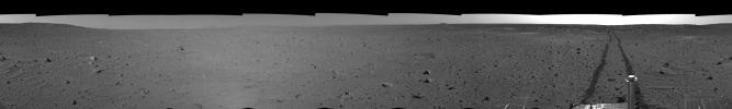 Spirit's View on Sol 100 (right eye)