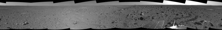This cylindrical-projection mosaic was assembled from images taken by the navigation camera on the Mars Exploration Rover Spirit on sol 107 (April 21, 2004) at a region dubbed 'site 32.' Spirit is sitting east of 'Missoula Crater' on the outer plains.