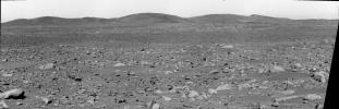 This image taken by the panoramic camera on the Mars Exploration Rover Spirit shows the rover's ultimate destination -- the 'Columbia Hills.'